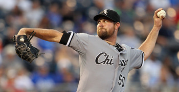 KANSAS CITY, MO - JULY 20:  Starting pitcher John Danks #50 of the Chicago White Sox pitches during the game against the Kansas City Royals on July 20, 2011 at Kauffman Stadium in Kansas City, Missouri.  (Photo by Jamie Squire/Getty Images)
