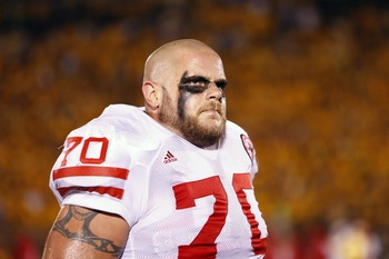 COLUMBIA, MO - OCTOBER 6:  Matt Slauson #70 of the Nebraska Cornhuskers heads to the locker room prior to action against the Missouri Tigers on October 6, 2007 at Faurot Field in Columbia, Missouri.  (Photo by G. Newman Lowrance/Getty Images)