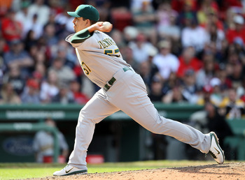 BOSTON, MA - JUNE 04:  Brian Fuentes #57 of the Oakland Athletics delivers a pitch in the ninth inning against the Boston Red Sox on June 4, 2011 at Fenway Park in Boston, Massachusetts.  (Photo by Elsa/Getty Images)