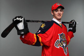 ST PAUL, MN - JUNE 25:  76th overall pick Logan Shaw by the Florida Panthers poses for a photo portrait during day two of the 2011 NHL Entry Draft at Xcel Energy Center on June 25, 2011 in St Paul, Minnesota.  (Photo by Nick Laham/Getty Images)
