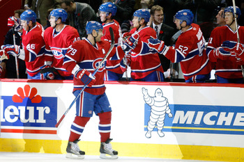 MONTREAL - NOVEMBER 9:  Andrei Markov #79 of the Montreal Canadiens celebrates his first-period goal during the NHL game against the Vancouver Canucks at the Bell Centre on November 9, 2010 in Montreal, Quebec, Canada.  (Photo by Richard Wolowicz/Getty Im