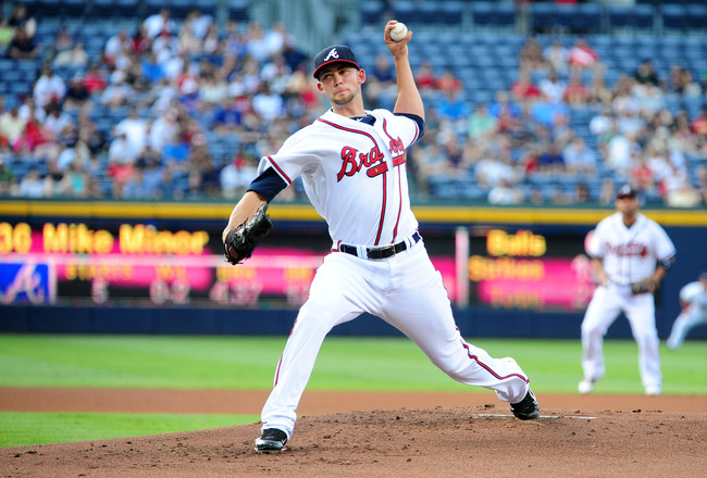 ATLANTA - JUNE 16: Mike Minor #36 of the Atlanta Braves pitches against the New York Mets at Turner Field on June 16, 2011 in Atlanta, Georgia. (Photo by Scott Cunningham/Getty Images)