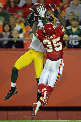 KANSAS CITY, MO - SEPTEMBER 02:  Safety Ricky Price #35 of the Kansas City Chiefs breaks up a pass intended for receiver Charles Dillon #17 of the Green Bay Packers during the game on September 2, 2010 at Arrowhead Stadium in Kansas City, Missouri.  (Phot