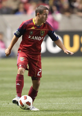 SANDY, UT - SEPTEMBER 19: Luis Gil #21 of Real Salt Lake kicks the ball during a game against Cruz Azul during the first half of an CONCACAF soccer game October 19, 2010 at Rio Tinto Stadium in Sandy, Utah. (Photo by George Frey/Getty Images)