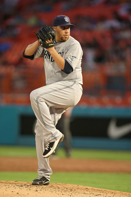 MIAMI GARDENS, FL - JULY 20:  Aaron Harang #41 of the San Diego Padres pitches during a game against the Florida Marlins at Sun Life Stadium on July 20, 2011 in Miami Gardens, Florida.  (Photo by Sarah Glenn/Getty Images)