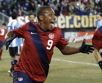 EAST RUTHERFORD, NJ - MARCH 26:  Juan Agudelo #9 and Oguchi Onyewu #5 of the United States celebrate Agudelo's game-tying goal during the second half of a friendly match against Argentina at New Meadowlands Stadium on March 26, 2011 in East Rutherford, Ne