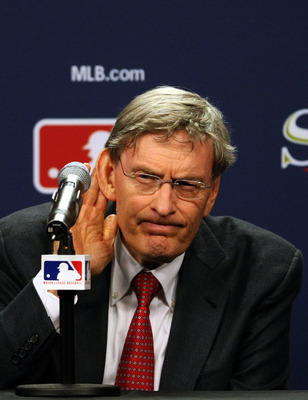 PHILADELPHIA - OCTOBER 27:  Major League Baseball commissioner Bud Selig listens to a question from the media after explaining the rules involved with suspending game five of the 2008 MLB World Series between the Philadelphia Phillies and the Tampa Bay Ra