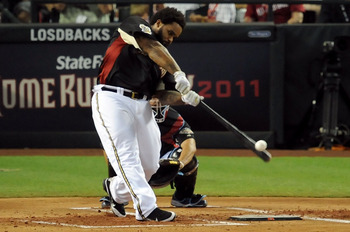 PHOENIX, AZ - JULY 11:  National League All-Star Prince Fielder #28 of the Milwaukee Brewers participates in the first round of the 2011 State Farm Home Run Derby at Chase Field on July 11, 2011 in Phoenix, Arizona.  (Photo by Norm Hall/Getty Images)