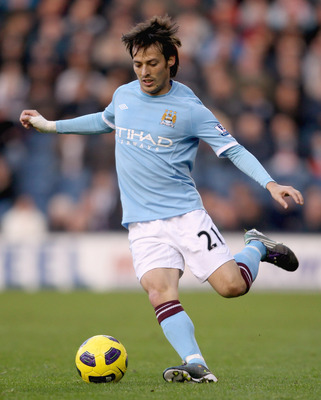 WEST BROMWICH, ENGLAND - NOVEMBER 07:  Manchester City's David Silva in action during the Barclays Premier League match between West Bromwich Albion and Manchester City at The Hawthorns on November 7, 2010 in West Bromwich, England.  (Photo by Scott Heave