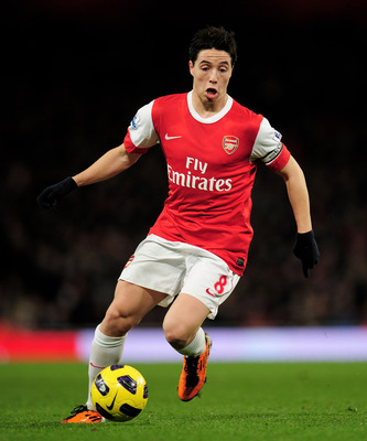 LONDON, ENGLAND - FEBRUARY 23:  Samir Nasri of Arsenal in action during the Barclays Premier League match between Arsenal and Stoke City at the Emirates Stadium on February 23, 2011 in London, England.  (Photo by Shaun Botterill/Getty Images)