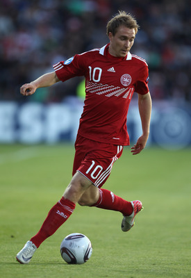 AARHUS, DENMARK - JUNE 14:  Christian Eriksen of Denmarkin action during the UEFA European Under-21 Championship Group A match between Denmark and Belarus at the Aarhus stadium on on June 14, 2011 in Aarhus, Denmark.  (Photo by Ian Walton/Getty Images)