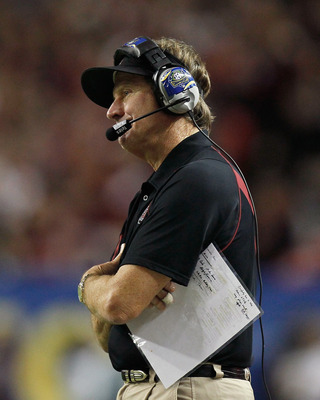 ATLANTA, GA - DECEMBER 04:  Head coach Steve Spurrier of the South Carolina Gamecocks looks on against the Auburn Tigers during the 2010 SEC Championship at Georgia Dome on December 4, 2010 in Atlanta, Georgia.  (Photo by Kevin C. Cox/Getty Images)