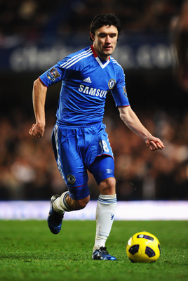 LONDON, ENGLAND - NOVEMBER 10:  Yuriy Zhirkov of Chelsea in action during the Barclays Premier League match between Chelsea and Fulham at Stamford Bridge on November 10, 2010 in London, England.  (Photo by Mike Hewitt/Getty Images)