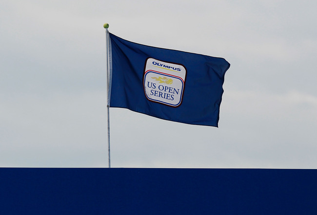 CINCINNATI - AUGUST 18:  A US Open Series flag waves above Grandstand Court during the match between Mardy Fish and Fernando Verdasco of Spain on Day 3 of the Western & Southern Financial Group Masters at the Lindner Family Tennis Center on August 18, 201