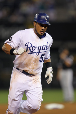 KANSAS CITY, MO - JULY 19:  Melky Cabrera #53 of the Kansas City Royals rounds the bases after hitting a home during the 7th inning of the game against the Chicago White Sox on July 19, 2011 at Kauffman Stadium in Kansas City, Missouri.  (Photo by Jamie S