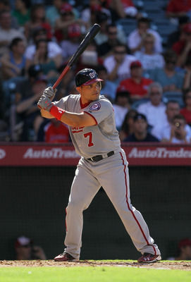 ANAHEIM, CA - JUNE 29:  Ivan Rodriguez #7 of the Washington Nationals bats against the Los Angeles Angels of Anaheim at Angel Stadium of Anaheim on June 29, 2011 in Anaheim, California.  (Photo by Jeff Gross/Getty Images)