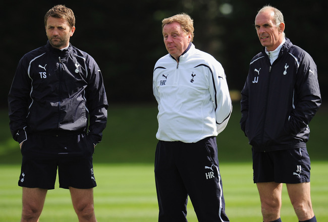 CHIGWELL, ENGLAND - APRIL 12:  Harry Rednapp the Tottenham Hotspur manager with assistant coach Joe Jordan (right) and coach Tim Sherwood during a training session at Spurs Lodge on April 12, 2011 in Chigwell, England.  (Photo by Shaun Botterill/Getty Ima