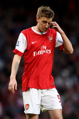 LONDON, ENGLAND - APRIL 02: Nicklas Bendtner of Arsenal looks dejected during the Barclays Premier League match between Arsenal and Blackburn Rovers at the Emirates Stadium on April 2, 2011 in London, England.  (Photo by Julian Finney/Getty Images)
