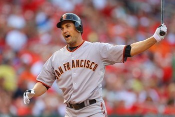 ST. LOUIS, MO - MAY 31: Pat Burrell #5 of the San Francisco Giants reacts to striking out against the St. Louis Cardinals at Busch Stadium on May 31, 2011 in St. Louis, Missouri.  (Photo by Dilip Vishwanat/Getty Images)