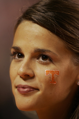 KNOXVILLE, TN - SEPTEMBER 16:  A fan supports the University of Tennessee Volunteers during the game against the University of Florida Gators on September 16, 2006 at Neyland Stadium in Knoxville, Tennessee.  The Gators won 21-20.  (Photo by Brian Bahr/Ge