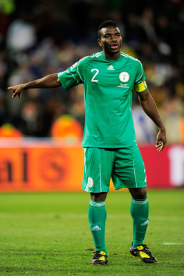 BLOEMFONTEIN, SOUTH AFRICA - JUNE 17: Joseph Yobo of Nigeria gestures during the 2010 FIFA World Cup South Africa Group B match between Greece and Nigeria at the Free State Stadium on June 17, 2010 in Mangaung/Bloemfontein, South Africa.  (Photo by Stuart