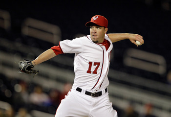WASHINGTON, DC - APRIL 12: Pitcher Sean Burnett #17 of the Washington Nationals delivers to a Philadelphia Phillies batter during the ninth inning at Nationals Park on April 12, 2011 in Washington, DC. (Photo by Rob Carr/Getty Images)