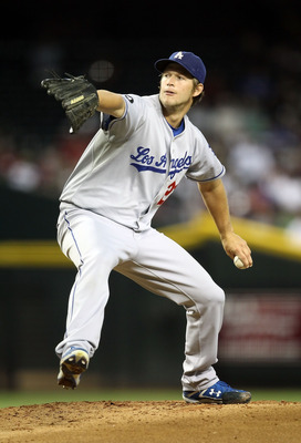 PHOENIX, AZ - JULY 15:  Starting pitcher Clayton Kershaw #22 of the Los Angeles Dodgers pitches against the Arizona Diamondbacks during the Major League Baseball game at Chase Field on July 15, 2011 in Phoenix, Arizona.  (Photo by Christian Petersen/Getty