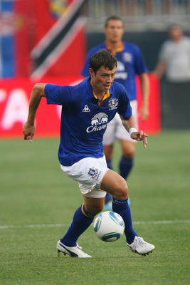 CHESTER, PA - JULY 20: Midfielder Diniyar Bilyaletdinov #7 of Everton FC controls the ball during a game against the Philadelphia Union at PPL Park on July 20, 2011 in Chester, Pennsylvania. The Union won 1-0. (Photo by Hunter Martin/Getty Images)