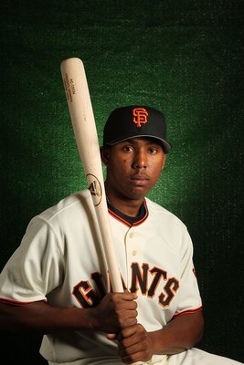 SCOTTSDALE, AZ - FEBRUARY 28:  Francisco Peguero of the San Francisco Giants poses during media photo day on February 28, 2010 at Scottsdale Stadium in Scottsdale, Arizona.  (Photo by Jed Jacobsohn/Getty Images)