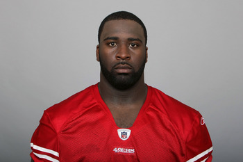 SAN FRANCISCO, CA - CIRCA 2010: In this handout image provided by the NFL, Aubrayo Franklin of the San Francisco 49ers poses for his NFL headshot circa 2010 in San Francisco, California. (Photo by NFL via Getty Images)