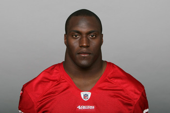 SAN FRANCISCO, CA - CIRCA 2010: In this handout image provided by the NFL, Takeo Spikes of the San Francisco 49ers poses for his NFL headshot circa 2010 in San Francisco, California. (Photo by NFL via Getty Images)