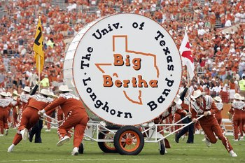 AUSTIN, TX - SEPTEMBER 29: The Texas Longhorns band rolls out Big Bertha drum during the game against of the Kansas State Wildcats on September 29, 2007 at Darrell K Royal-Texas Memorial Stadium in Austin, Texas.  Kansas State won 41-21.  (Photo by Brian