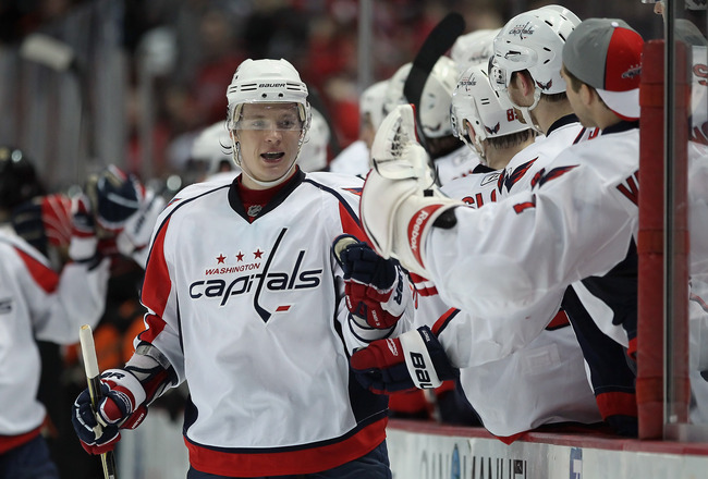 ANAHEIM, CA - FEBRUARY 16:  Alexander Semin #28 of the Washington Capitals celebrates his second goal of the game against the Anaheim Ducks in the third period at the Honda Center on February 16, 2011 in Anaheim, California. The Capitals defeated the Duck