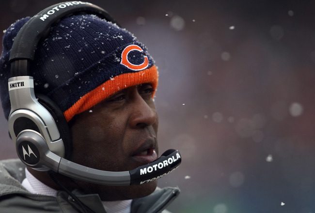 CHICAGO, IL - JANUARY 16:  Head coach Lovie Smith of the Chicago Bears looks on in the first half against the Seattle Seahawks in the 2011 NFC divisional playoff game at Soldier Field on January 16, 2011 in Chicago, Illinois.  (Photo by Jonathan Daniel/Ge