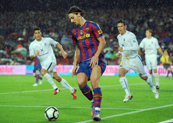 BARCELONA, SPAIN - MAY 04: Zlatan Ibrahimovic of Barcelona in action during the La Liga match between Barcelona and Tenerife at Camp Nou stadium on May 4, 2010 in Barcelona, Spain.  (Photo by Denis Doyle/Getty Images)