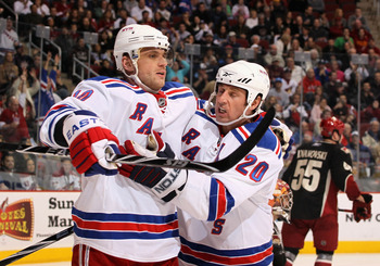 GLENDALE, AZ - JANUARY 30:  Marian Gaborik #10 and Vaclav Prospal #20 of the New York Rangers celebrate after Gaborik scored a third period goal against the Phoenix Coyotes during the NHL game at Jobing.com Arena on January 30, 2010 in Glendale, Arizona.
