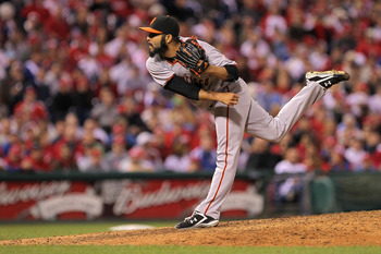 PHILADELPHIA - OCTOBER 17:  Sergio Romo #54 of the San Francisco Giants pitches against the Philadelphia Phillies in Game Two of the NLCS during the 2010 MLB Playoffs at Citizens Bank Park on October 17, 2010 in Philadelphia, Pennsylvania.  (Photo by Doug