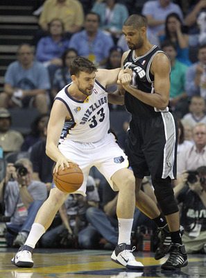 MEMPHIS, TN - APRIL 25:  Marc Gasol #33 of the   Memphis Grizzlies dribbles the ball while defended by Tim Duncan #21 of the San Antonio Spurs in Game Four of the Western Conference Quarterfinals in the 2011 NBA Playoffs at FedExForum on April 25, 2011 in