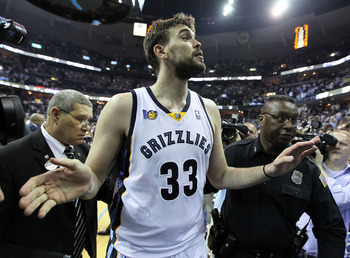MEMPHIS, TN - APRIL 29:  Marc Gasol #33 of the Memphis Grizzlies celebrates after the Grizzlies beat the San Antonio Spurs 99-91 in Game Six of the Western Conference Quarterfinals in the 2011 NBA Playoffs at FedExForum on April 29, 2011 in Memphis, Tenne