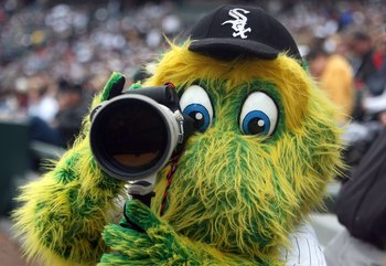 CHICAGO - APRIL 27:  Southpaw, the mascot of the Chicago White Sox take photos with a camera against the Baltimore Orioles on April 27, 2008 at U.S. Cellular Field in Chicago, Illinois.  (Photo by Jonathan Daniel/Getty Images)