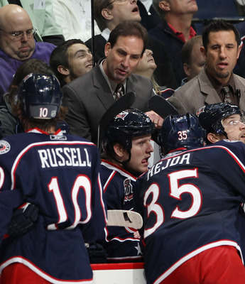 COLUMBUS, OH - DECEMBER 01:  Head coach Scott Arniel of the Columbus Blue Jackets handles his team against the Nashville Predators at the Nationwide Arena on December 1, 2010 in Columbus, Ohio.  (Photo by Bruce Bennett/Getty Images)