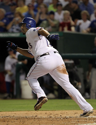ARLINGTON, TX - JULY 22:  Nelson Cruz #17 of the Texas Rangers at Rangers Ballpark in Arlington on July 22, 2011 in Arlington, Texas.  (Photo by Ronald Martinez/Getty Images)