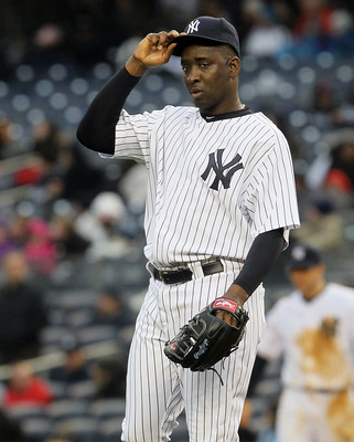 NEW YORK, NY - APRIL 16:  Rafael Soriano #29 of the New York Yankees stands on the mound during the eighth inning against the Texas Rangers on April 16, 2011 at Yankee Stadium in the Bronx borough of New York City. The Yankees defeated the Rangers 5-2.  (