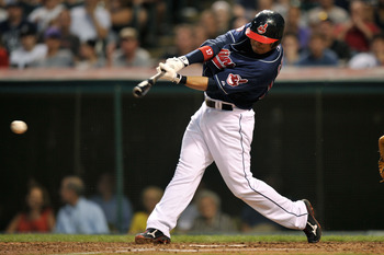 CLEVELAND, OH - JUNE 21:  Shin-Soo Choo #17 of the Cleveland Indians connects for the Indians' first hit in the sixth inning against the Colorado Rockies at Progressive Field on June 21, 2011 in Cleveland, Ohio. Colorado defeated Cleveland 4-3.  (Photo by