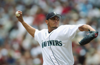 SEATTLE - JUN 29:  Starting pitcher Freddy Garcia #34 of the Seattle Mariners delivers the pitch during the interleague game against the San Diego Padres at Safeco Field on June 29, 2003 in Seattle, Washington.  The Padres defeated the Mariners 8-6.  (Pho
