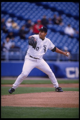 24 May 1995: Pitcher Wilson Alvarez of the Chicago White Sox practices throwing at Comiskey Park in Chicago, Illinois before the game against the Texas Rangers. The White Sox defeated the Rangers 10-6.