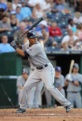 KANSAS CITY, MO - JULY 23:  Desmond Jennings #8 of the Tampa Bay Rays bats during the game against the Kansas City Royals on July 23, 2011 at Kauffman Stadium in Kansas City, Missouri.  (Photo by Jamie Squire/Getty Images)