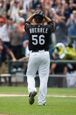 CHICAGO, IL - JULY 23: Pitcher Mark Buehrle #56 of the Chicago White Sox reacts in celebration after pitching a perfect game against the Tampa Bay Rays at U.S. Cellular Field on July 23, 2009 in Chicago, Illinois. The White Sox defeated the Rays 5-0, as B