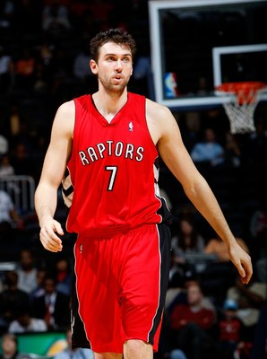ATLANTA - DECEMBER 02:  Andrea Bargnani #7 of the Toronto Raptors against the Atlanta Hawks at Philips Arena on December 2, 2009 in Atlanta, Georgia.  NOTE TO USER: User expressly acknowledges and agrees that, by downloading and/or using this Photograph,