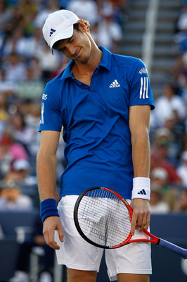 NEW YORK - SEPTEMBER 05:  Andy Murray of Great Britain reacts after a point played against Stanislas Wawrinka of Switzerland during the men's singles match on day seven of the 2010 U.S. Open at the USTA Billie Jean King National Tennis Center on September